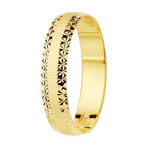 Alianza Oro Amarillo Mate Bordes Diamantados 4mm