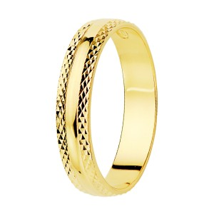 Alianza Oro Amarillo Brillo Bordes Tallados 4mm