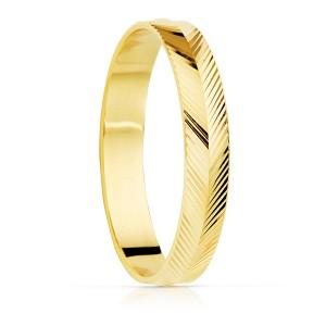 Alianza Oro Amarillo Tallada Espiga Brillo 4mm