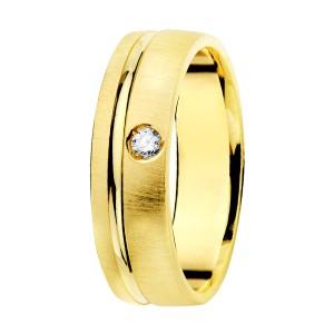 Alianza Oro Amarillo Mate Filo Brillo 5,5mm Diamante 0.045Qtes