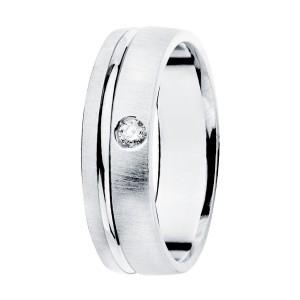 Alianza Oro Blanco Mate 5,5mm Diamante 0,045Qtes