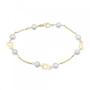Pulsera Oro con Perlas Cultivadas y Osito