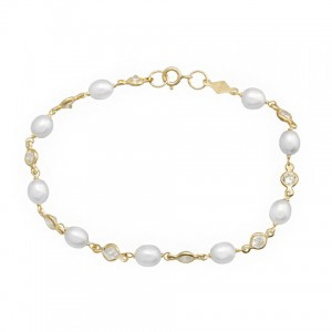 Pulsera Oro con Perlas Cultivadas y Circonitas