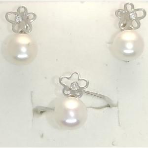 Conjunto Oro Blanco Flor con Perla