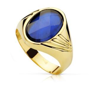 Sortija Oro Piedra Azul