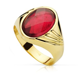 Sortija Oro Piedra Roja