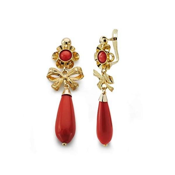 Pendientes Oro 18K, con perillas color rojo coral