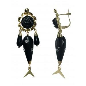 Pendientes Oro 18K, pescadilla color negro con circonitas