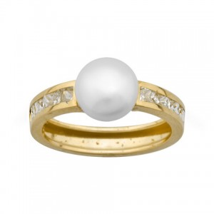 Anillo Oro 18K con perla central y circonitas