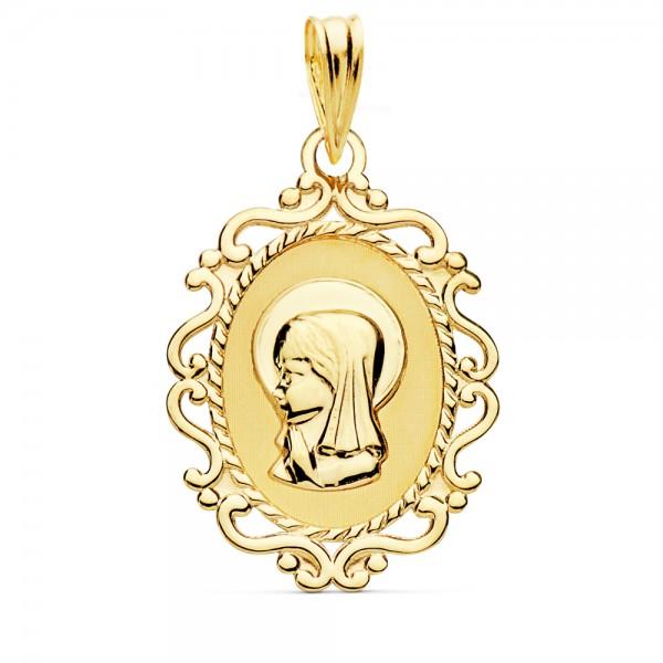 Medalla virgen niña orla, Oro 18K
