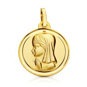 Medalla Oro 18K, Virgen Niña.