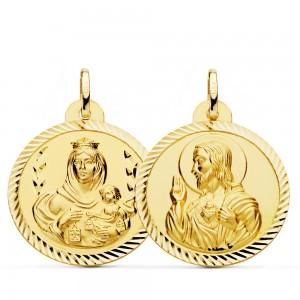 Escapulario Oro 1ª Ley Virgen del Carmen y Corazón de Jesús