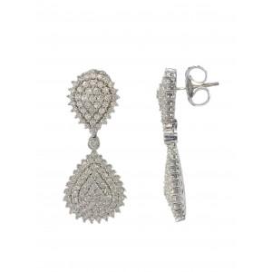 Pendientes Oro Blanco 18K, con diamantes