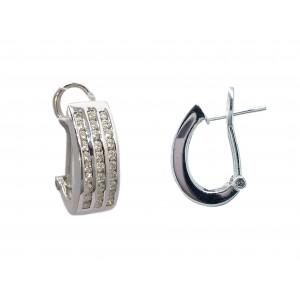 Pendientes Oro Blanco 18K, con diseño tres bandas de diamantes.