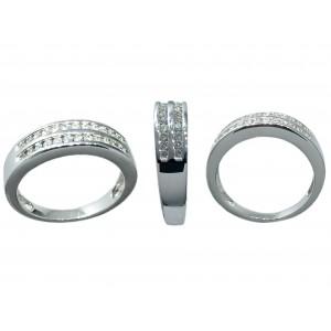 Anillo Oro blanco 18K, con dos bandas de Diamantes.
