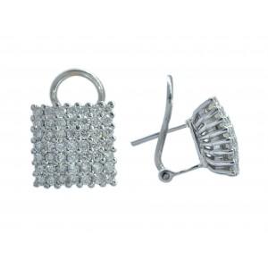Pendientes Oro Blanco 18K, diseño cuadrado con diamantes