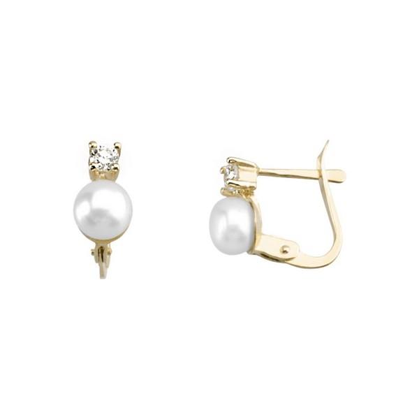 Pendientes Oro 18K, con Circonita y perla.
