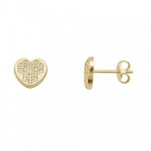 Pendientes Oro 18K, Forma de Corazón con circonitas.
