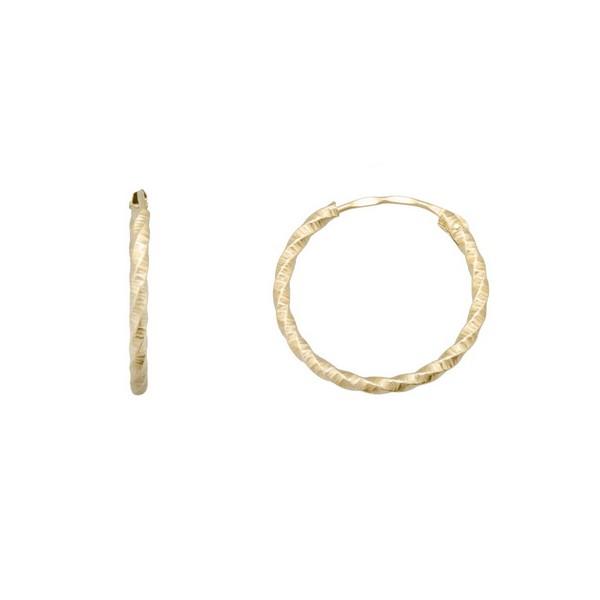 Pendientes Oro 18K, Aro retorcido tallado.