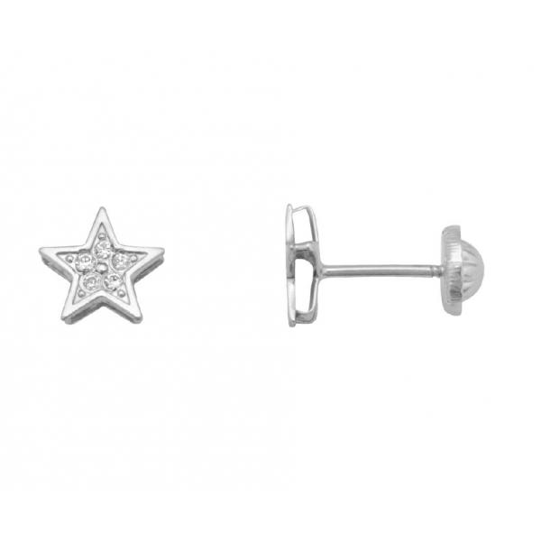 Pendientes Oro Blanco 18K, estrella con circonitas.