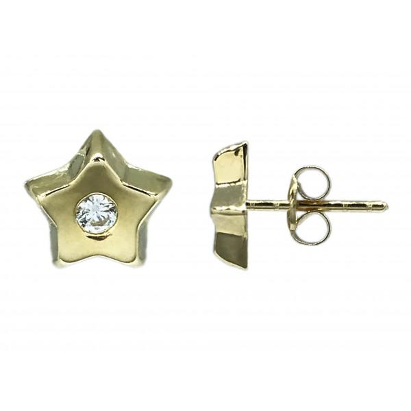 Pendientes Oro 18K, estrella con circonita.