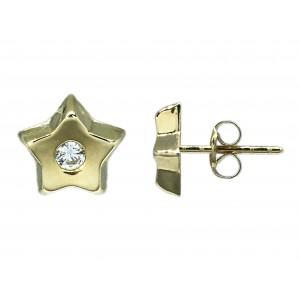 Pendientes Oro 18K, estrella concava con circonita.