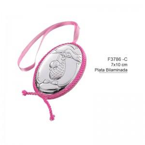 Medalla de Cuna Plata de Bilaminada - Modelo Cigüeña
