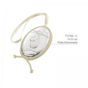 Medalla de Cuna Plata de Bilaminada con sonido integrado - Modelo Cigüeña
