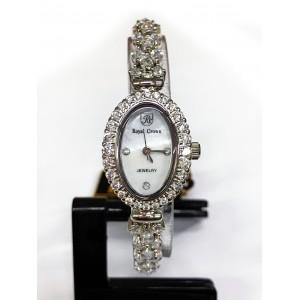 Reloj Royal Crown de Acero y Circonitas, esfera oval.