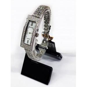 Reloj Royal Crown de Acero y Circonitas engastadas, esfera rectangular.
