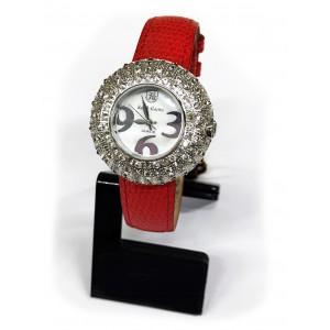 Reloj Royal Crown blanco con Circonitas engastadas y correa de cuero.