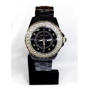 Reloj Royal Crown color negro con Circonitas engastadas y esfera de acero.