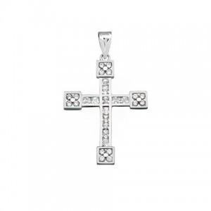 Cruz Oro Blanco Circonitas 20x15mm